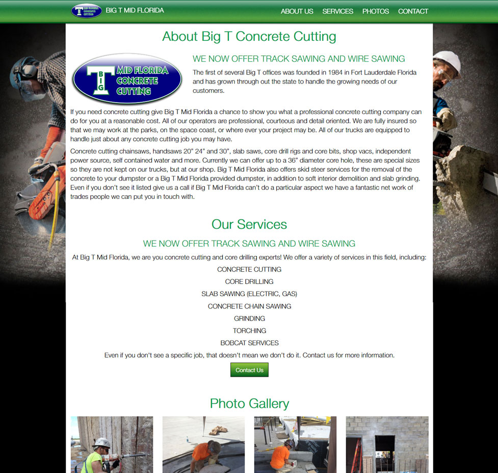 Big T Concrete Cutting Custom Web Site