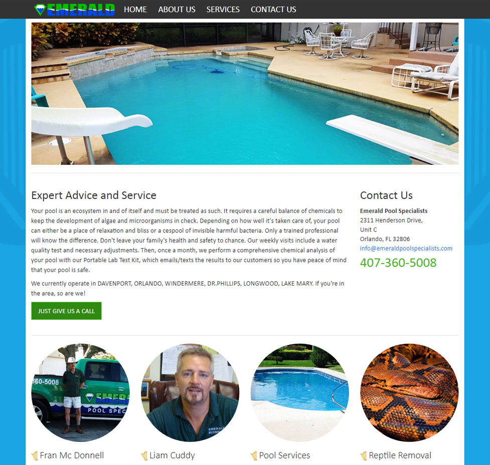 Emerald Pool Specialists Custom Web Site