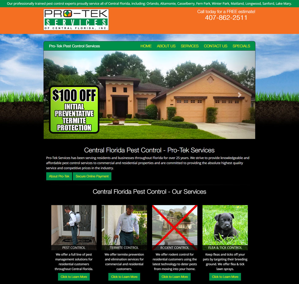 Pro-Tek Services Custom Web Site