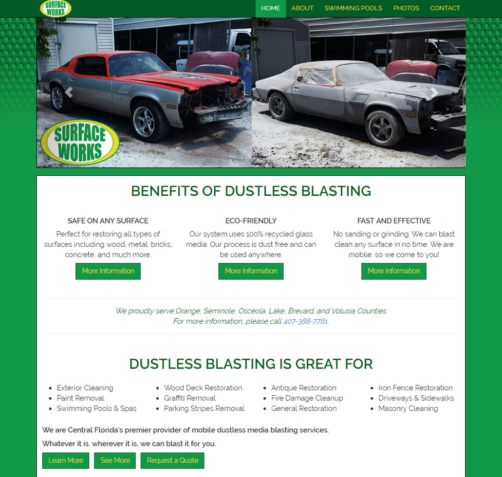 Surface Works Dustless Blasting Custom Web Site