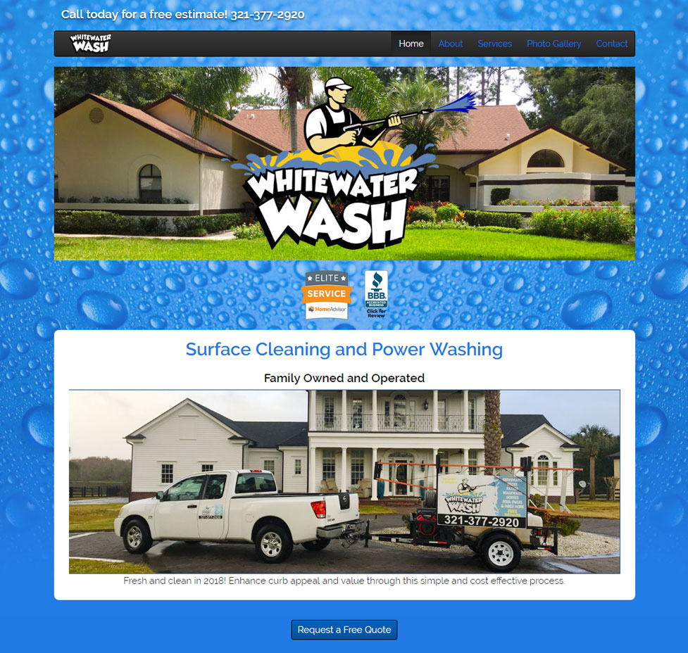 Whitewater Wash Custom Web Site