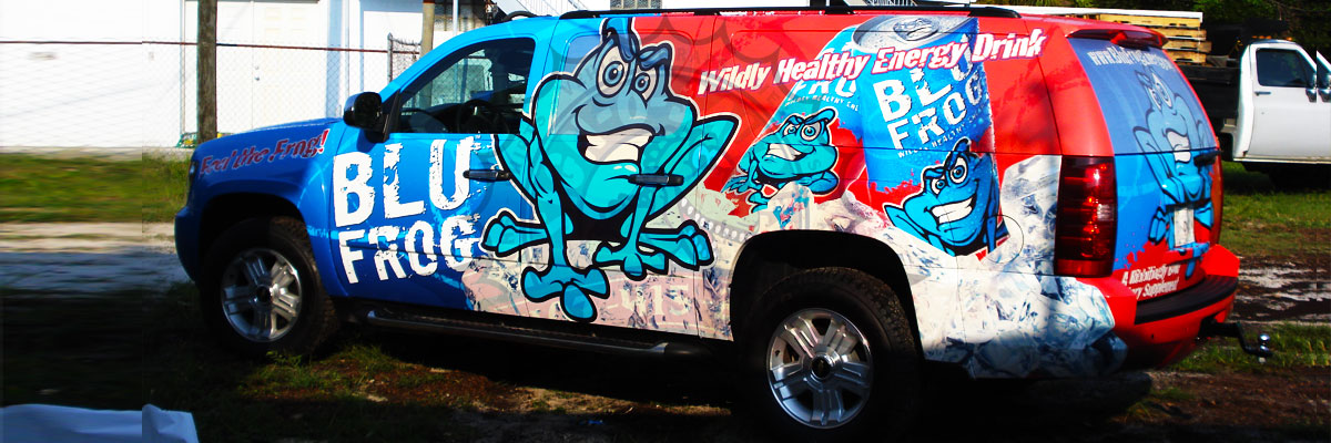 Blue Frog Energy Drink Vehicle Wrap