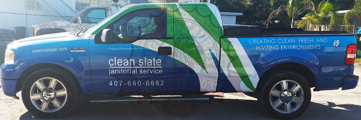 Clean Slate Janitorial Pickup Truck Wrap