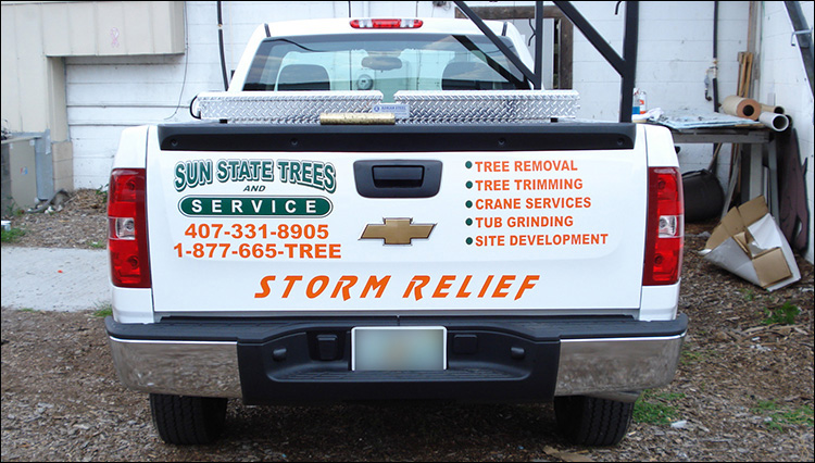 Sun State Trees Pickup Truck Lettering