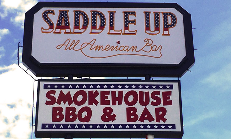 Saddle Up All American Bar Custom Cabinet Sign