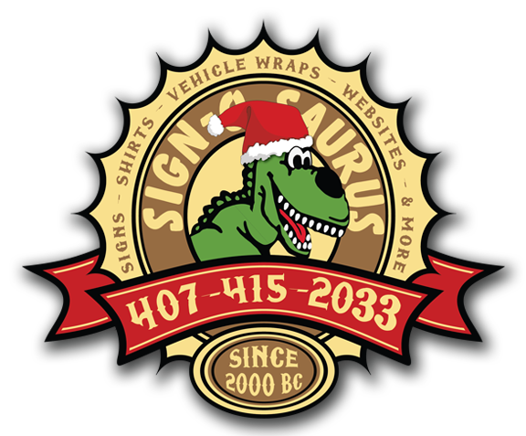 Sign-O-Saurus Logo with a Santa Hat