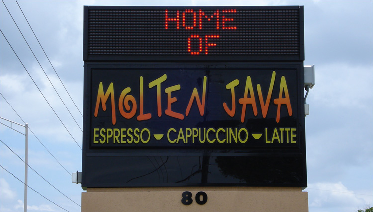 Molten Java Marquee Sign