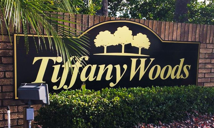 Tiffany Woods Subdivision Entrance Sign