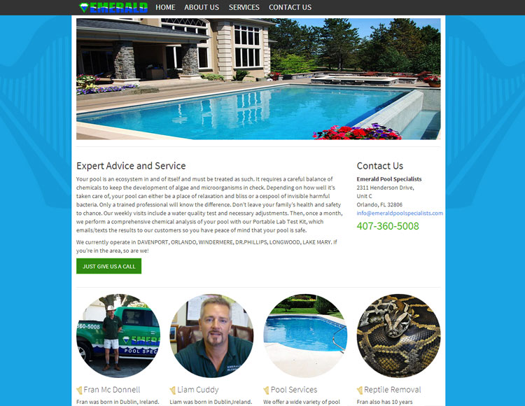 Emerald Pool Services Custom Web Site